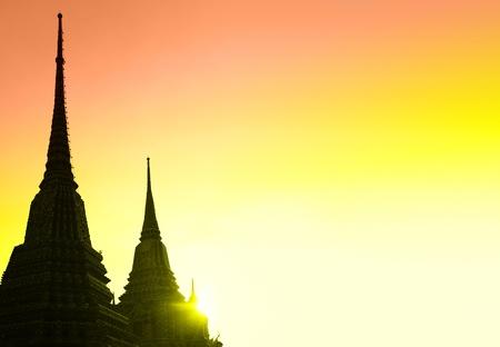 Silhouettes of stupas with copyspace, Bangkok, Thailand photo