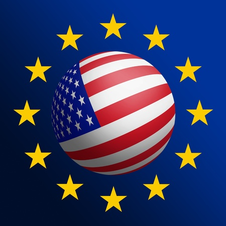 USA - EU cooperation. Raster graphics photo