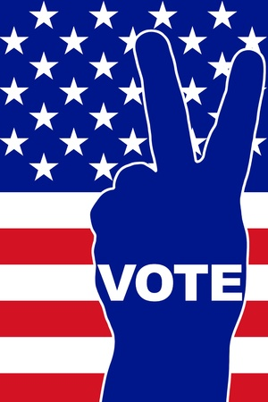 successful campaign: USA Vote - Victory gesture over national flag
