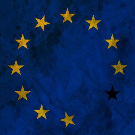 Crisis concept - Destroyed European Union sign.