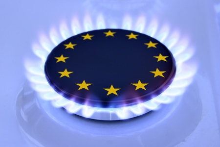 Gas flame and European Union Sign on the hob Standard-Bild