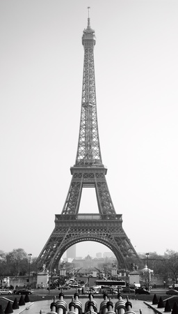 black history: Eiffel tower, Paris. Black and white image