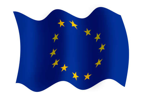 Raster graphics of windy EU flag photo