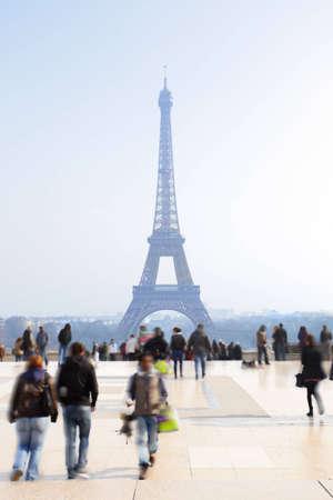 eifel: People in blur at Trocadero, Paris, France Editorial