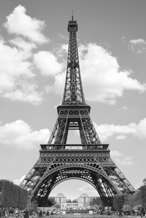 eiffel tower architecture: Eiffel tower, Paris. Black and white image