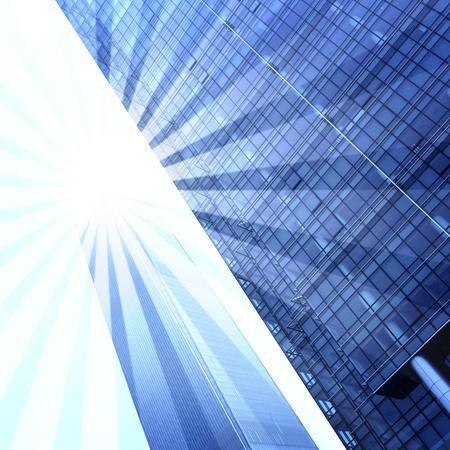 glare: Abstract skyscrapers with Sun glare