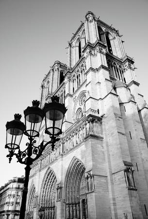 Notre Dame de Paris, France. Black and white image. Editorial