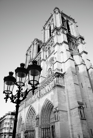fasade: Notre Dame de Paris, France. Black and white image. Editorial