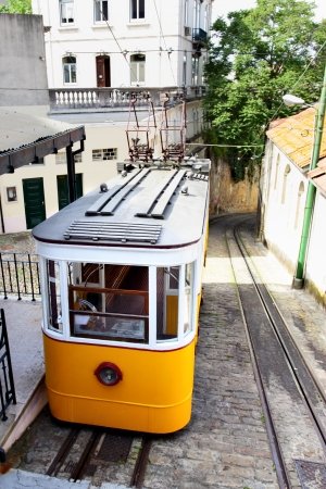 Funicular  Elevador do Lavra  in Lisbon, Portugal