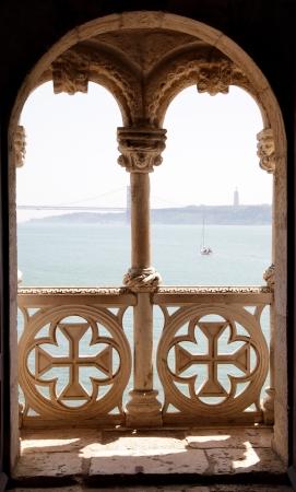 forts: Balcony in Tower of Belem (Torre de Belem), Lisbon, Portugal Stock Photo