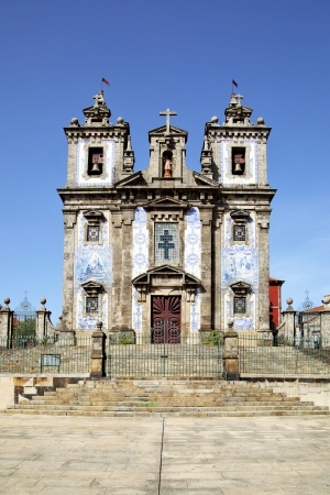 Facede of The Church of Santo Ildefonso in Porto, Portugal