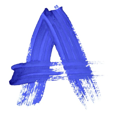 A - Blue handwritten letters over white background Stock Photo