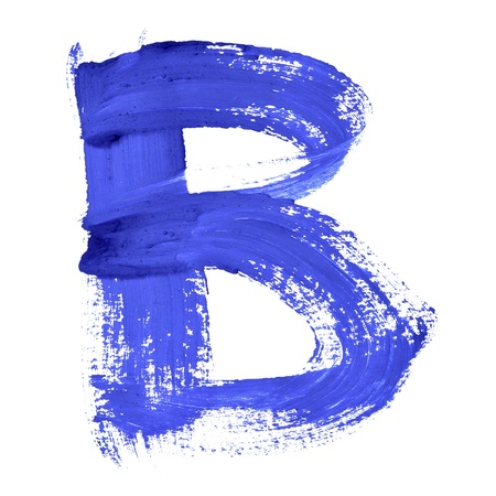 letter b: B - Blue handwritten letters over white background