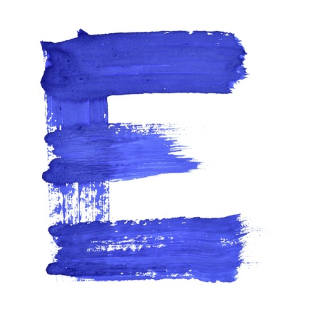 educaton: E - Blue handwritten letters over white background