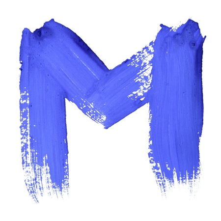 abcd: M - Blue handwritten letters over white background