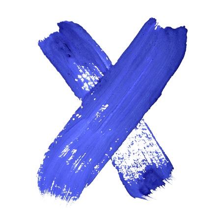 educaton: X - Blue handwritten letters over white background
