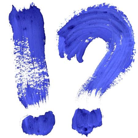 exclamation mark: Marcas - Blue letras escritas a mano sobre fondo blanco