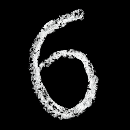 over black: Six - Chalk numbers over black background Stock Photo