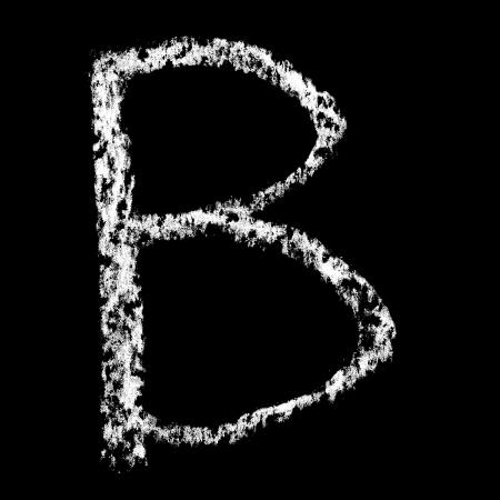 B - Chalk alphabet over black background photo