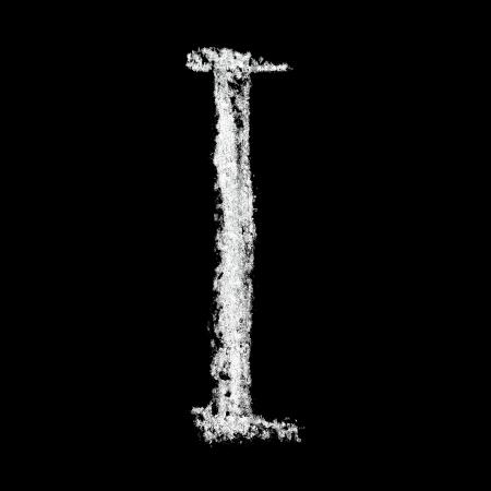 educaton: I - Chalk alphabet over black background