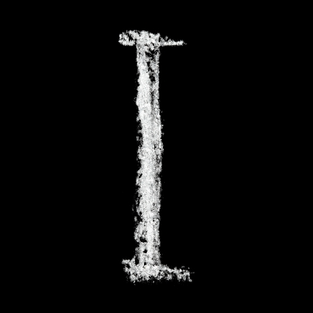 I - Chalk alphabet over black background