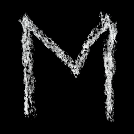 basic letters: M - Chalk alphabet over black background