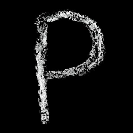 P - Chalk alphabet over black background photo