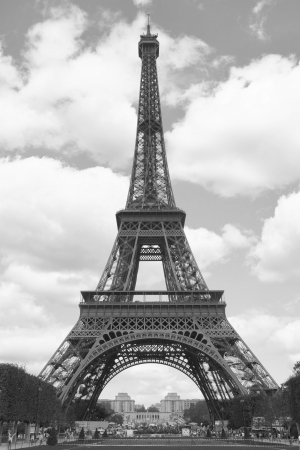 Eiffel tower, Paris. Black and white image