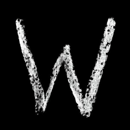 educaton: W - Chalk alphabet over black background