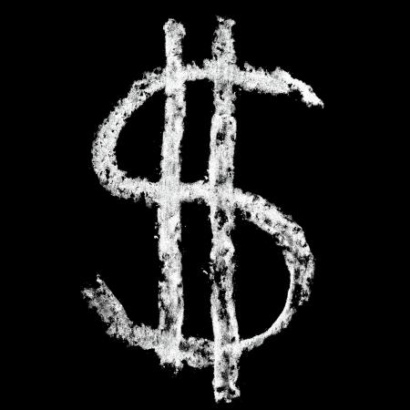 educaton: Dollar sign  - Chalk alphabet over black background Stock Photo