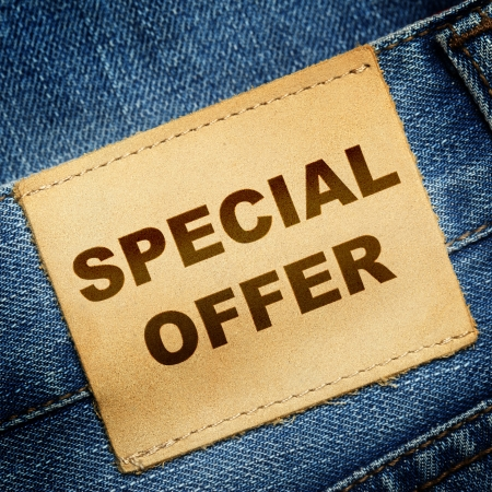 Blue jeans label with text SPECIAL OFFER photo