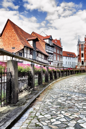 Old street in Quedlinburg town, Germany photo