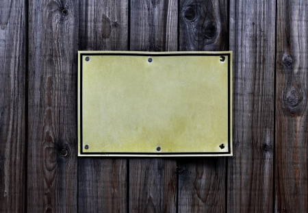 prohibitive: Blank sign over old wooden fence