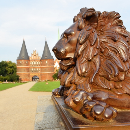 Lion near Holsten Gate, Lubeck, Germany Stock Photo - 15156953