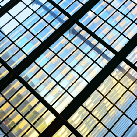 Glass wall - Abstract architectural background photo