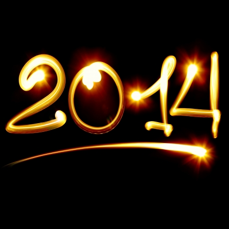 0 1 year: Happy new year 2014 message over black background