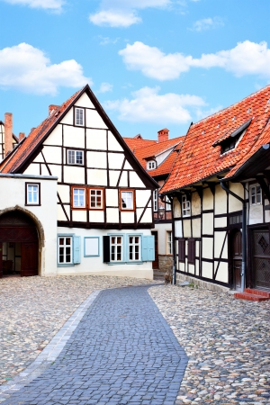 vacation home: Old street in Quedlinburg, Germany Stock Photo