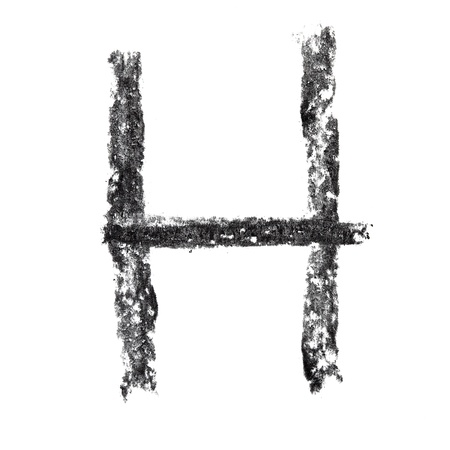 H - Hand-written charcoal alphabet photo