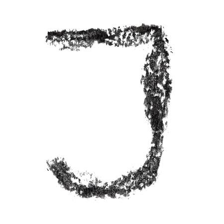 educaton: J - Hand-written charcoal alphabet