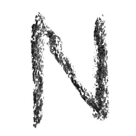 educaton: N - Hand-written charcoal alphabet