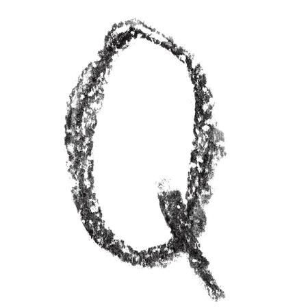 educaton: Q - Hand-written charcoal alphabet