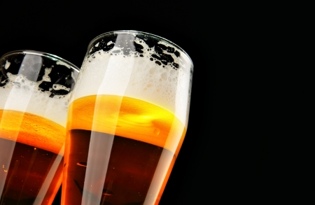 draught: Two beers with froth with copyspace Stock Photo