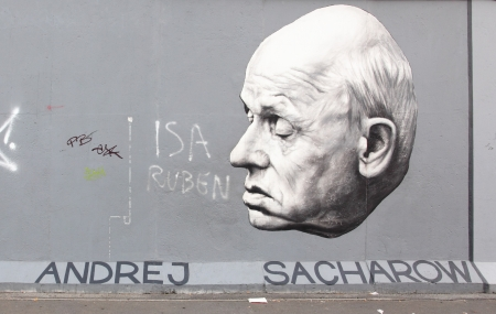 BERLIN - AUGUST 22: Famous graffito of Andrei Sakharov on Berlin Wall at East Side Gallery August 22, 2012 in Berlin