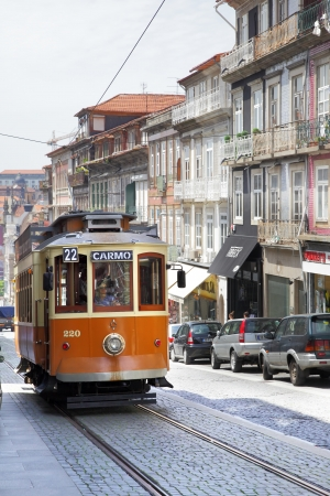 porto: PORTO - MAY 12: Rare old tram in old district May 12, 2012 in Porto