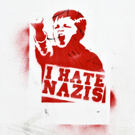 nazis: BERLIN - AUGUST 16: Anti-fascist graffiti on a  building wall (I hate nazis) August 16, 2012 in Berlin