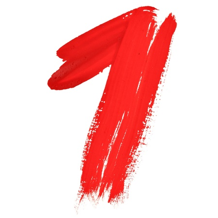 One - Red handwritten numerals over white background photo