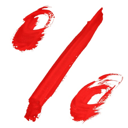 Percent sign - Red handwritten numerals  photo