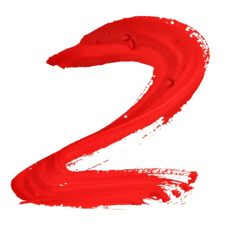 two stroke: Two - Red handwritten numerals over white background Stock Photo