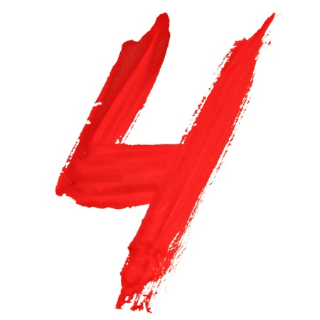Four - Red handwritten numerals over white background photo