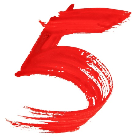 number five: Five - Red handwritten numerals over white background Stock Photo